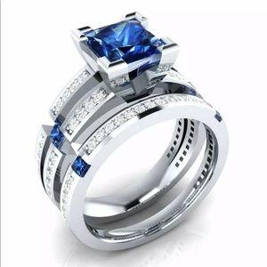 925 blue sapphire engagement ring set